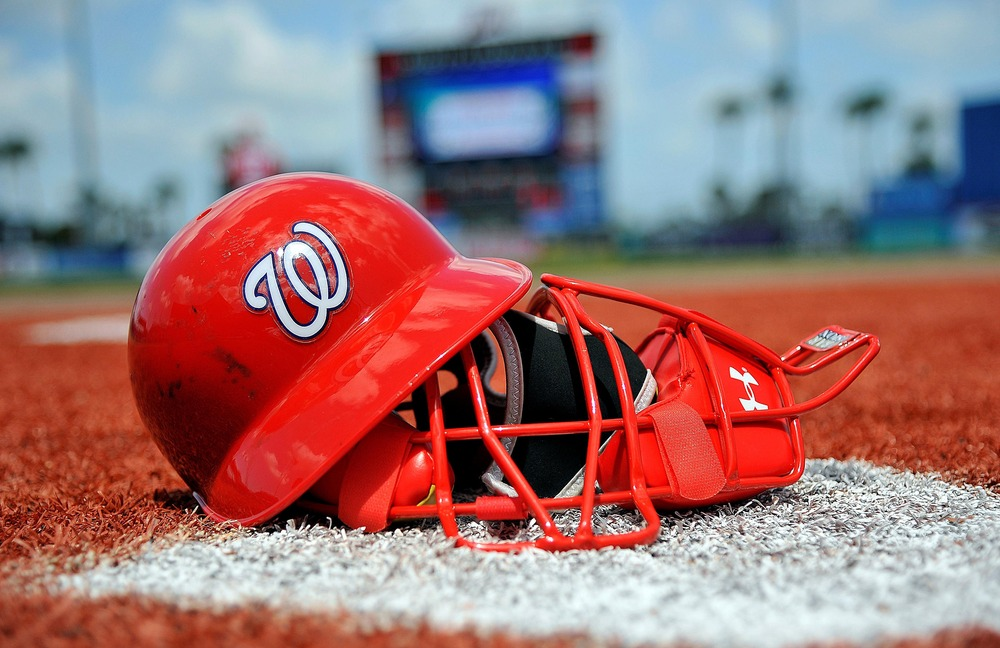 March 28, 2012; Port St Lucie, FL, USA;  A general view of a Washington Nationals catchers mask and helmet in the bullpen before a spring training game against the New York Mets at Digital Domain Park. Mandatory Credit: Brad Barr-US PRESSWIRE