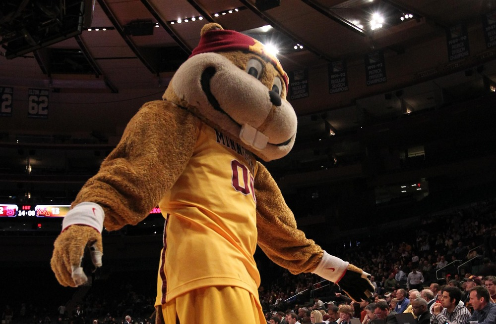 Mar 29, 2012; New York, NY, USA;  Minnesota Golden Gophers mascot performs during the first half of the final round against the Stanford Cardinal at the NIT held at Madison Square Garden.  Mandatory Credit: Anthony Gruppuso-US PRESSWIRE