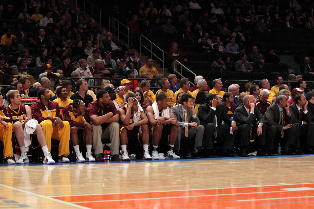 Mar 29, 2012; New York, NY, USA;  Minnesota Golden Gophers bench during the second half of the final round against the Stanford Cardinal at the NIT held at Madison Square Garden.  Stanford won 75-51.  Mandatory Credit: Anthony Gruppuso-US PRESSWIRE