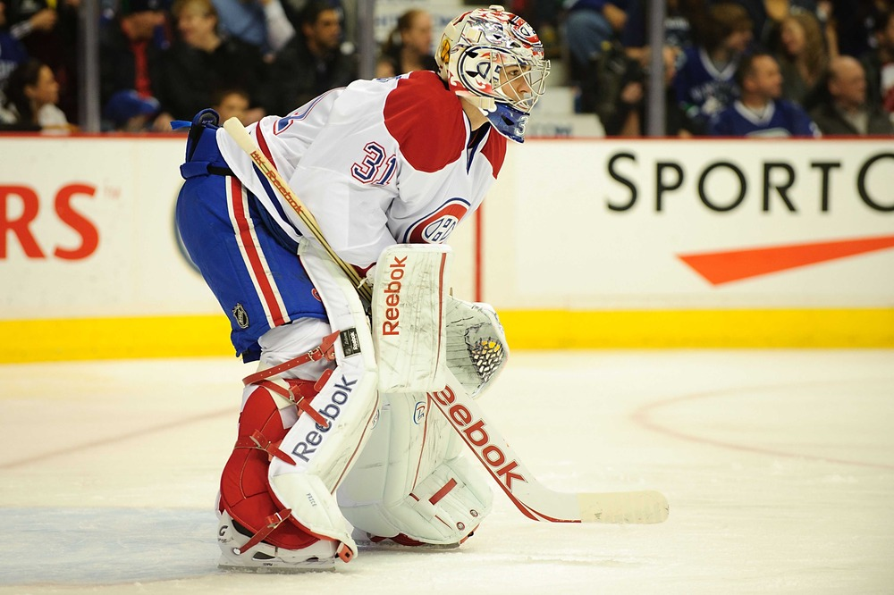 Mar 11, 2012; Vancouver, British Columbia,CANADA; Montreal Canadiens goaltender Carey Price (31) during the second period against the Vancouver Canucks at Rogers Arena. The Montreal Canadiens won 4-1.Mandatory Credit: Anne-Marie Sorvin-US PRESSWIRE