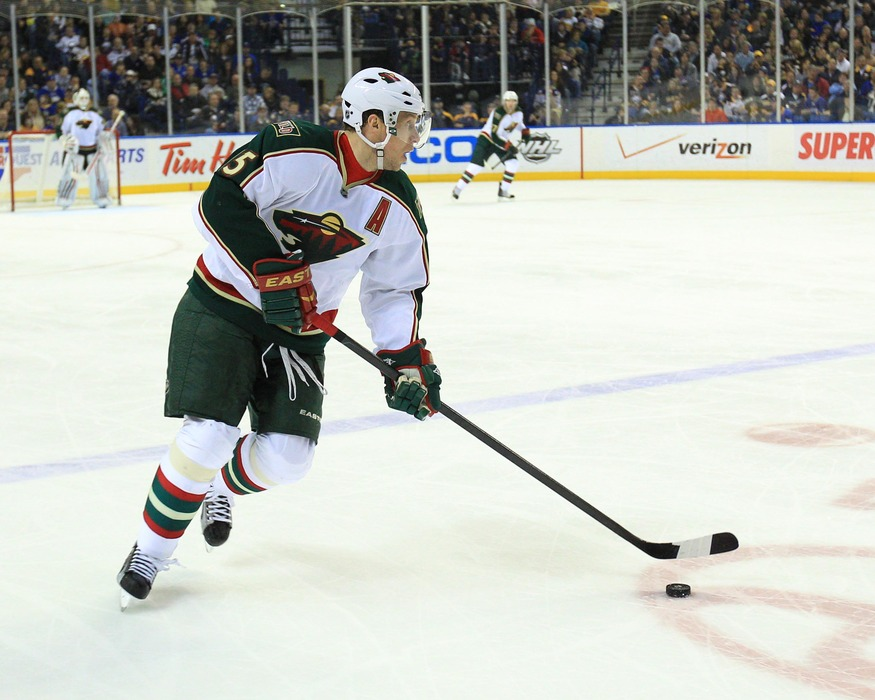 Mar 24, 2012; Buffalo, NY, USA; Minnesota Wild right wing Dany Heatley (15) during the game against the Buffalo Sabres at the First Niagara Center. Sabres beat the Wild 3-1. Mandatory Credit: Kevin Hoffman-US PRESSWIRE