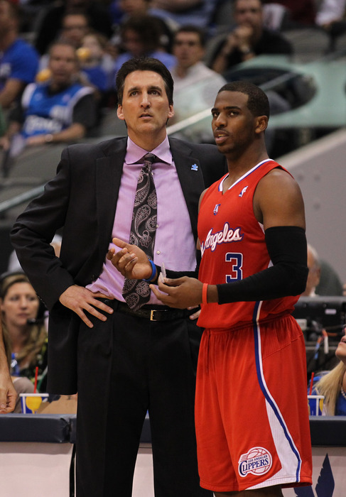 April 2, 2012; Dallas, TX, USA; Los Angeles Clippers guard Chris Paul (3) with head coach Vinny Del Negro during the third quarter against the Dallas Mavericks at American Airlines Center.  Mandatory Credit: Matthew Emmons-US PRESSWIRE