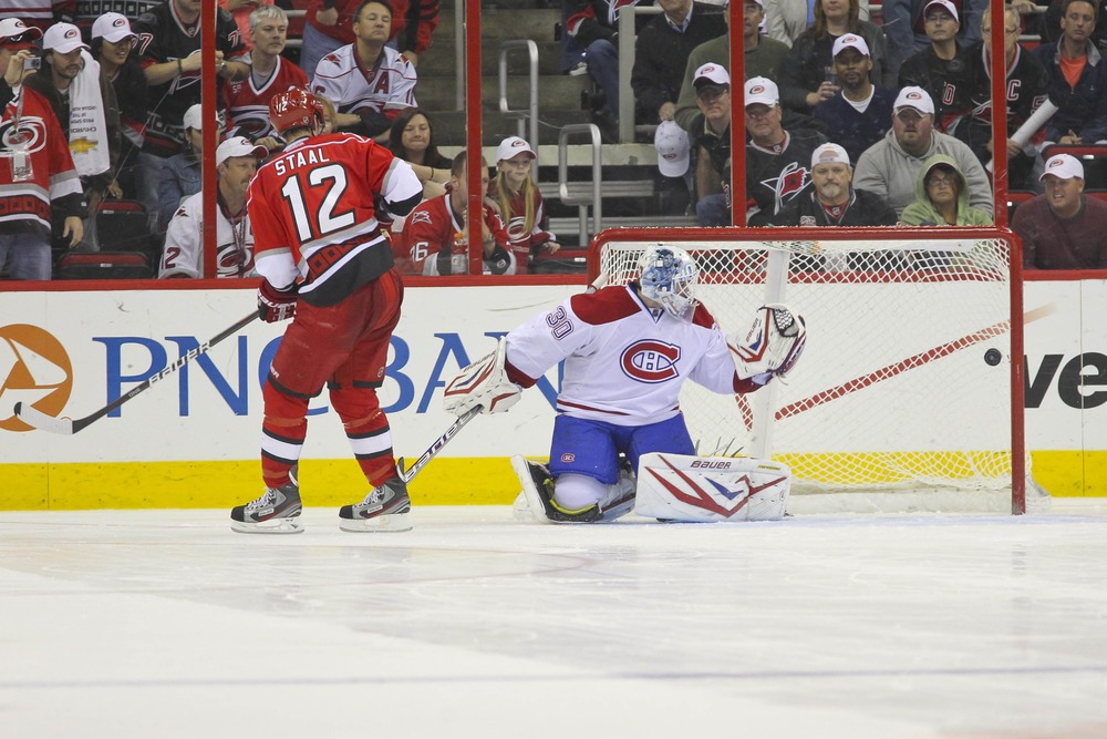 Eric Staal's goal in the third round of the shootout Thursday night gave the Canes their first victory of the season in the skills competition, beating the Montreal Canadiens 2-1 at PNC Arena.