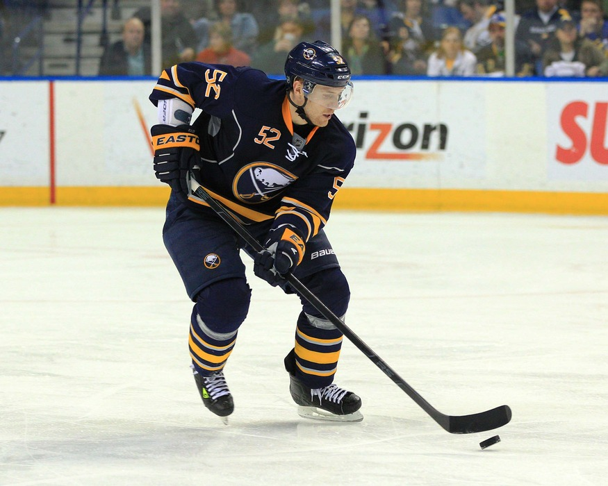 Apr 3, 2012; Buffalo, NY, USA; Buffalo Sabres defenseman Alexander Sulzer (52) during the game against the Toronto Maple Leafs at First Niagara Center. Sabres beat the Leafs 6-5 in overtime. Mandatory Credit: Kevin Hoffman-US PRESSWIRE