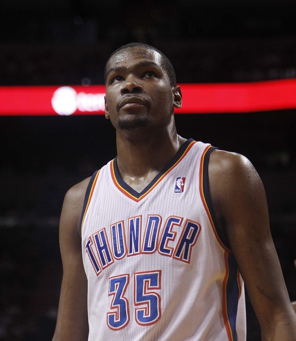 April 4, 2012; Miami, FL, USA;   Oklahoma City Thunder small forward Kevin Durant (35) during a game against the Miami Heat at the American Airlines Arena. Mandatory Credit: Robert Mayer-US PRESSWIRE