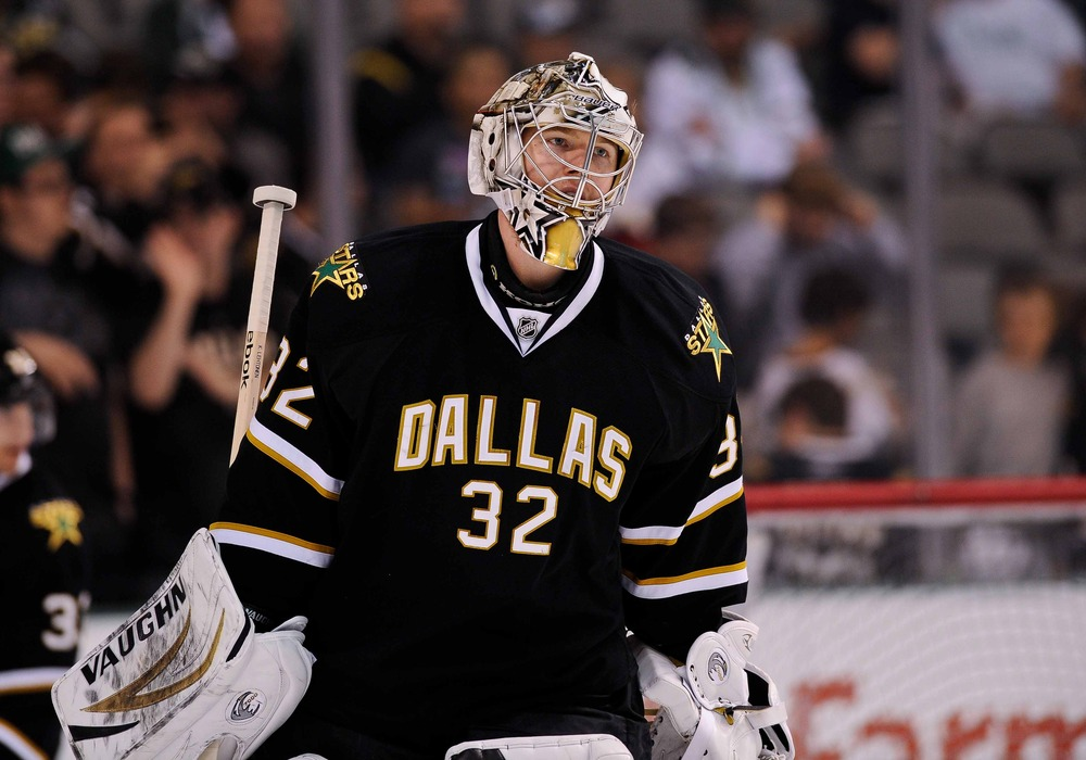 Apr 3, 2012; Dallas, TX, USA; Dallas Stars goalie Kari Lehtonen (32) warms up before the game against the San Jose Sharks at the American Airlines Center. The Sharks defeated the Stars 5-2. Mandatory Credit: Jerome Miron-US PRESSWIRE