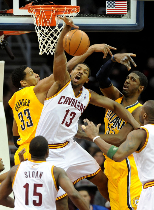 Tristan Thompson is either yelling or yawning. I'll give him the benefit of the doubt and say that he's yelling.