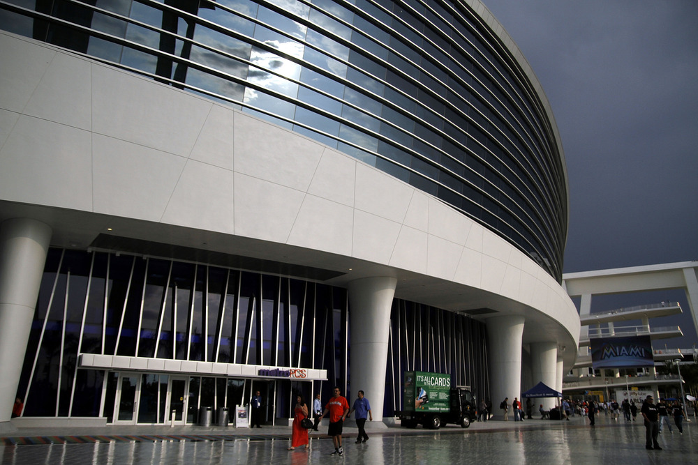 MIAMI, FL - APRIL 13: Rain falls outside the stadium as the Miami Marlins prepare to play against the Houston Astros at Marlins Park on April 13, 2012 in Miami, Florida.  (Photo by Marc Serota/Getty Images)