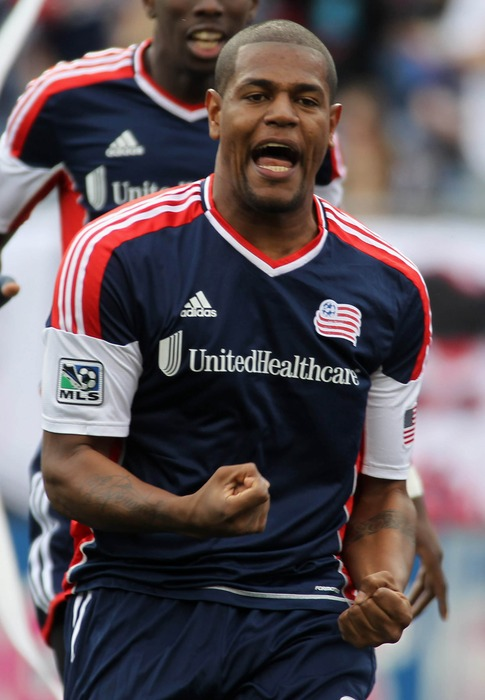 Apr 14, 2012; Foxborough, MA, USA; New England Revolution forward Jose Moreno (9) reacts after scoring a goal against D.C. United during the first half at Gillette Stadium. Mandatory Credit: Stew Milne-US PRESSWIRE
