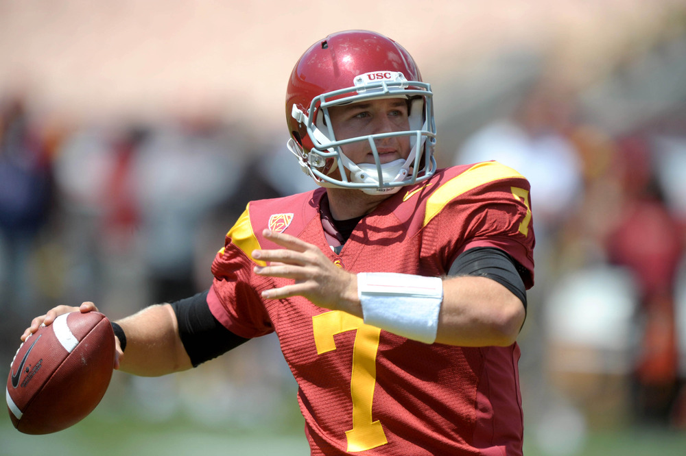 Apr 14, 2012; Los Angeles, CA, USA; Southern California Trojans quarterback Matt Barkley (7) throws a pass in the 2012 spring game at the Los Angeles Memorial Coliseum. Mandatory Credit: Kirby Lee/Image of Sport-US PRESSWIRE