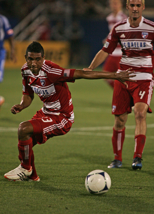 FRISCO, TX - APRIL 14:  Hernan Pertuz #13 of FC Dallas controls the ball against the Montreal Impact at FC Dallas Stadium on April 14, 2012 in Frisco, Texas.  Dallas defeated Montreal 2-1.  (Photo by Brett Deering/Getty Images)