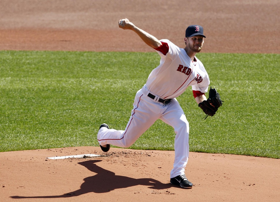 Boston, MA, USA; Boston Red Sox starting pitcher Daniel Bard (51) pitches against the Tampa Bay Rays during first the  inning at Fenway Park.  Mandatory Credit: Mark L. Baer-US PRESSWIRE