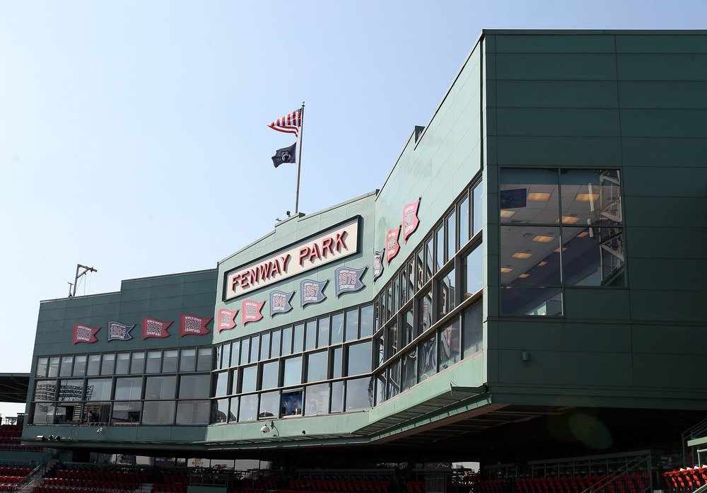 BOSTON, MA: A view of the Fenway Park press box before the game between the New York Yankees and the Boston Red Sox at Fenway Park in Boston, Massachusetts. (Photo by Elsa/Getty Images)