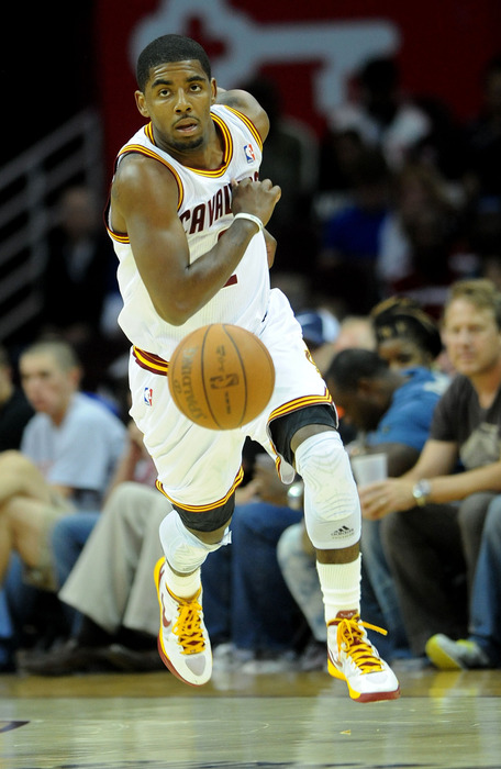 April 20, 2012; Cleveland, OH, USA: Cleveland Cavaliers point guard Kyrie Irving (2) brings the ball up court during the game against the New York Knicks at Quicken Loans Arena.  Mandatory Credit: Eric P. Mull-USPRESSWIRE