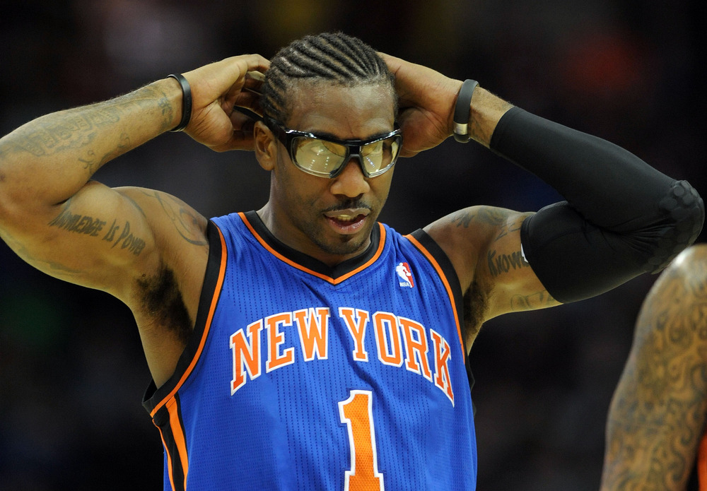 April 20, 2012; Cleveland, OH, USA: New York Knicks power forward Amare Stoudemire (1) during the game against the Cleveland Cavaliers at Quicken Loans Arena.  Mandatory Credit: Eric P. Mull-US PRESSWIRE