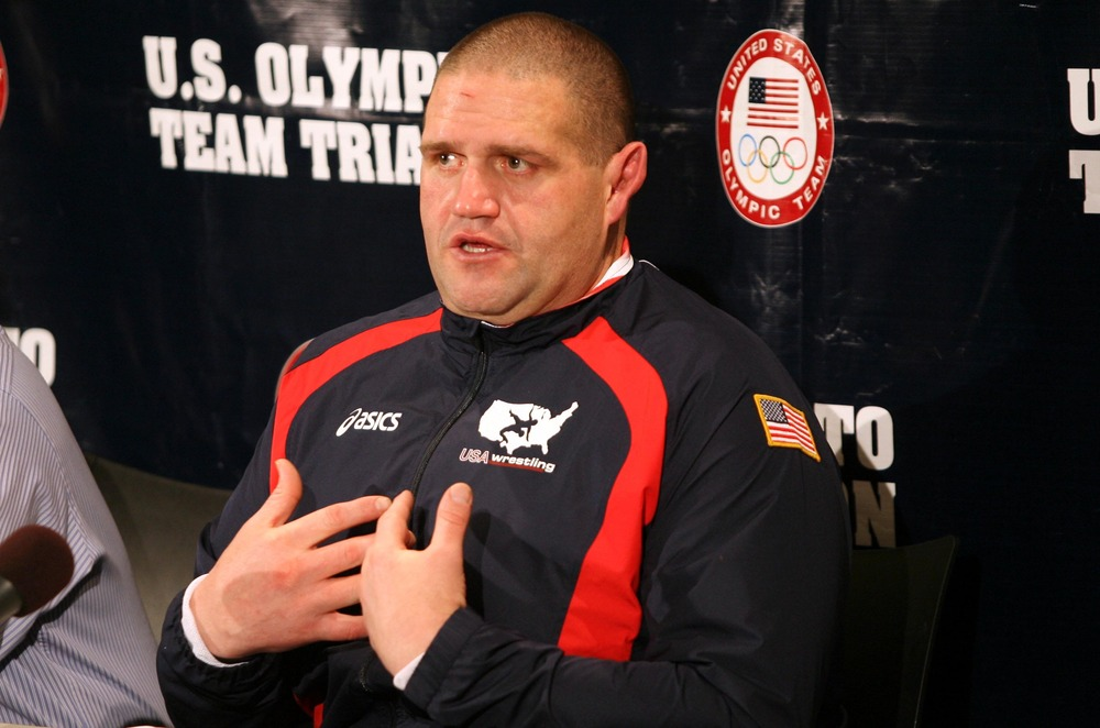April 21, 2012; Iowa City, IA, USA; Rulon Gardner speaks to the media at a press conference after not making weight for the 2012 U.S. Olympic Trials at Carver Hawkeye Arena.   Mandatory Credit: Reese Strickland-US PRESSWIRE
