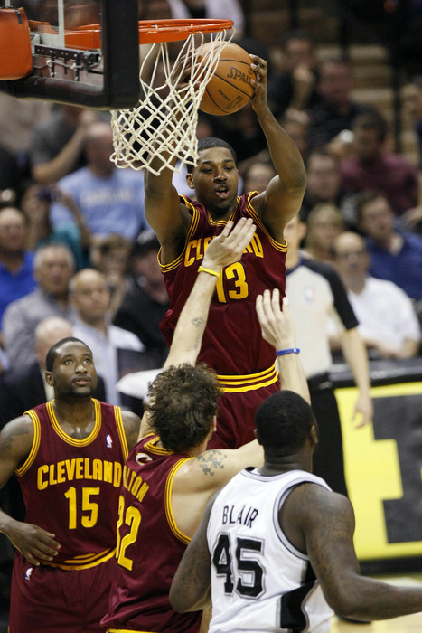 Apr 22, 2012; San Antonio, TX, USA; Cleveland Cavaliers forward Tristan Thompson (13) pulls down a rebound against the San Antonio Spurs during the first half at the AT&T Center. Mandatory Credit: Soobum Im-US PRESSWIRE