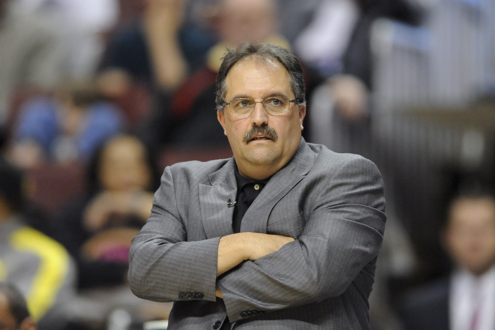Apr 07, 2012; Philadelphia, PA, USA; Orlando Magic head coach Stan Van Gundy during the second quarter against the Philadelphia 76ers at the Wells Fargo Center. The Magic defeated the Sixers 88-82. Mandatory Credit: Howard Smith-US PRESSWIRE