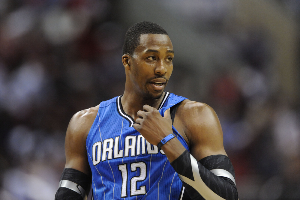 Apr 07, 2012; Philadelphia, PA, USA; Orlando Magic center Dwight Howard (12) during the fourth quarter against the Philadelphia 76ers at the Wells Fargo Center. The Magic defeated the Sixers 88-82. Mandatory Credit: Howard Smith-US PRESSWIRE