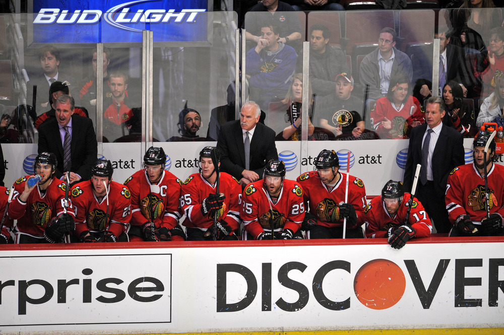 April 23, 2012; Chicago, IL, USA; The Chicago Blackhawks bench during the third period in game six of the 2012 Western Conference quarterfinals at the United Center. The Coyotes beat the Blackhawks 4-0.  Mandatory Credit: Rob Grabowski-US PRESSWIRE