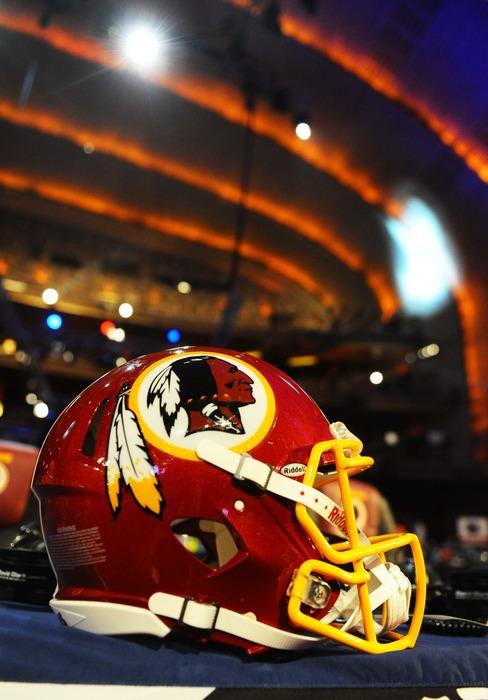 Apr 26, 2012; New York, NY, USA; A Washington Redskins helmet sits on the Redskins table at the 2012 NFL Draft at Radio City Music Hall. Mandatory Credit: James Lang-US PRESSWIRE