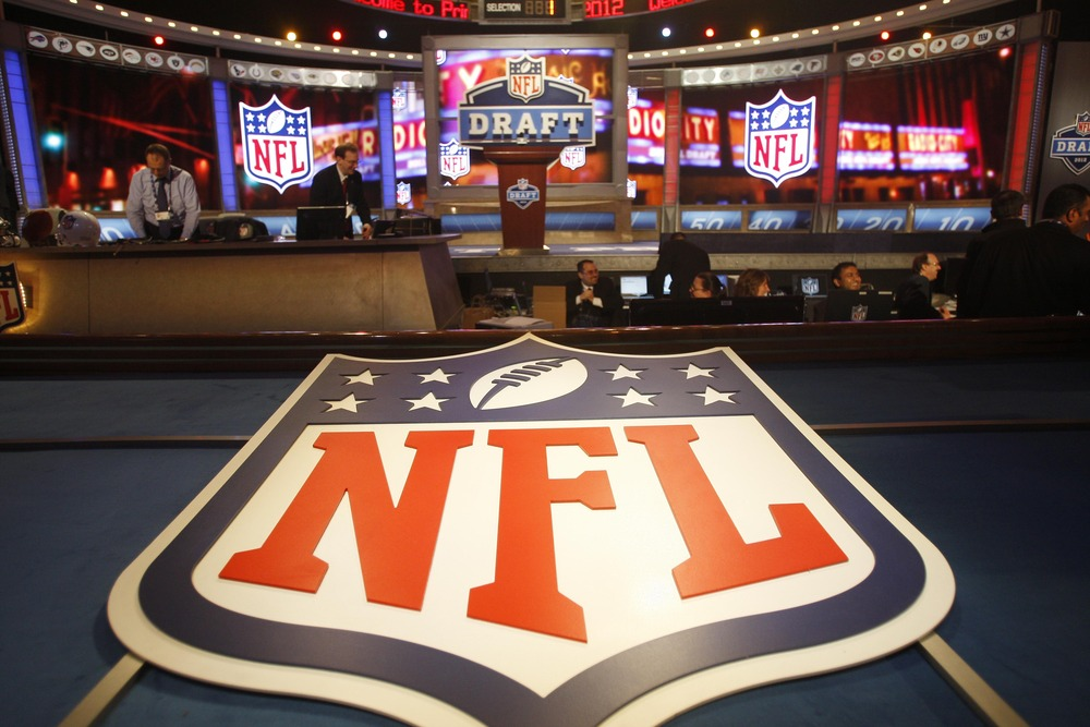 Apr 26, 2012; New York, NY, USA; A general view of the NFL shield logo before the 2012 NFL Draft at Radio City Music Hall. Mandatory Credit: Jerry Lai-US PRESSWIRE