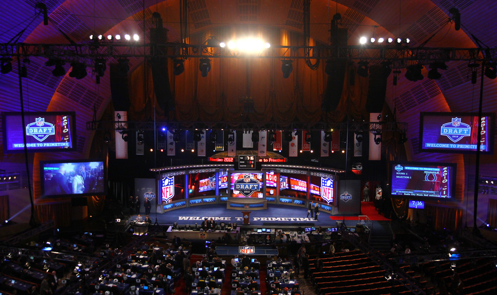 NEW YORK, NY - APRIL 26:  A detail view of the draft stage during the 2012 NFL Draft at Radio City Music Hall on April 26, 2012 in New York City.  (Photo by Al Bello/Getty Images)