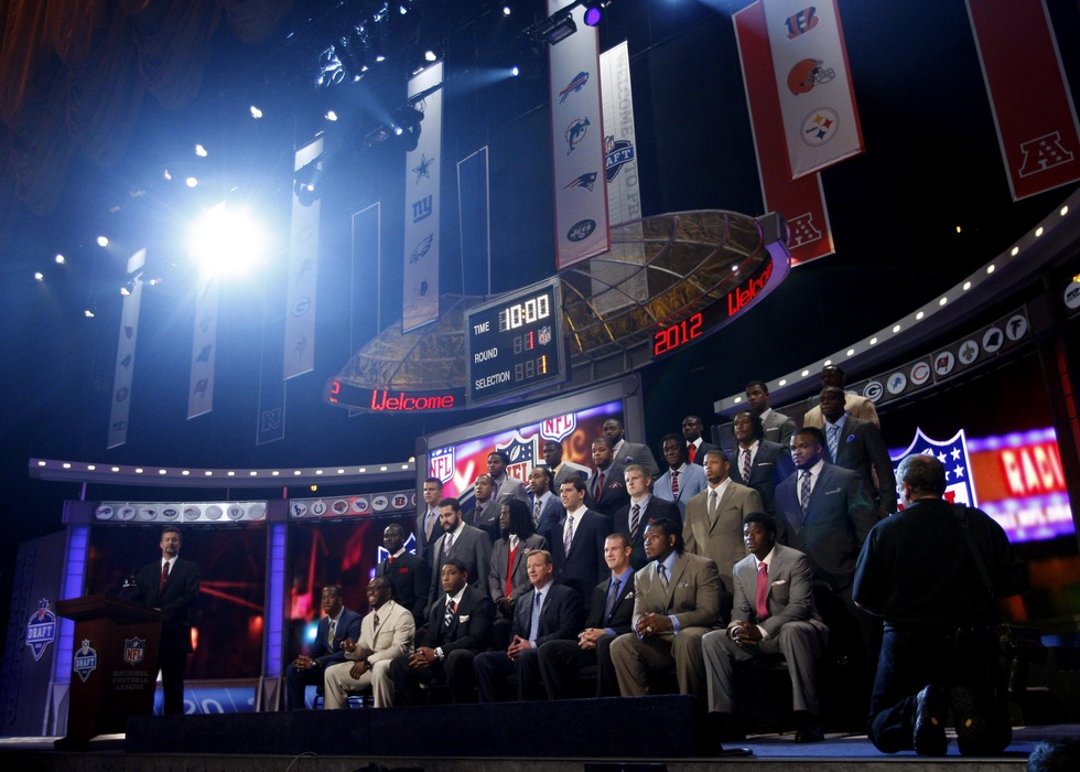 Apr 26, 2012; New York, NY, USA; A general view as draft prospects pose for a group photo with NFL commissioner Roger Goodell before the 2012 NFL Draft at Radio City Music Hall. Mandatory Credit: Jerry Lai-US PRESSWIRE