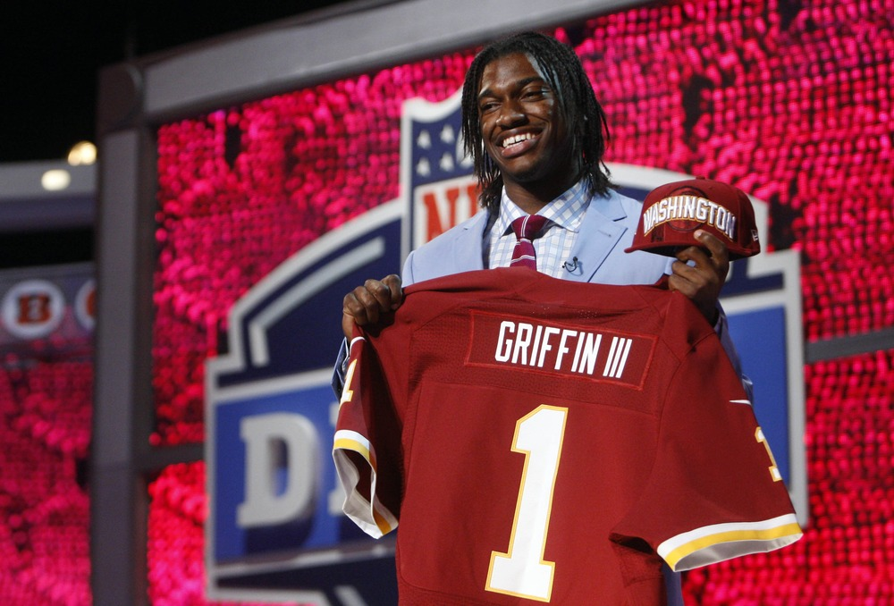 Apr 26, 2012; New York, NY, USA; Robert Griffin III (Baylor) is introduced as the number two overall pick to the Washington Redskins in the 2012 NFL Draft at Radio City Music Hall. Mandatory Credit: Jerry Lai-US PRESSWIRE