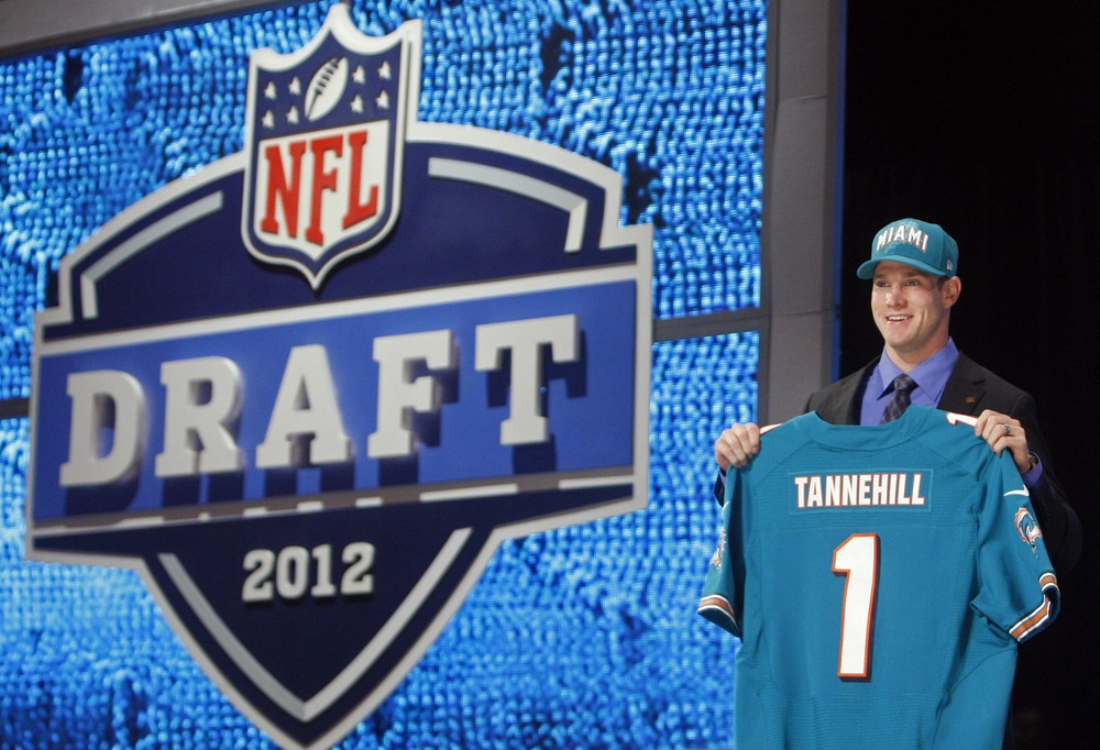 Apr 26, 2012; New York, NY, USA; Ryan Tannehill (Texas A&M) is introduced as the number eight overall pick to the Miami Dolphins in the 2012 NFL Draft at Radio City Music Hall. Mandatory Credit: Jerry Lai-US PRESSWIRE