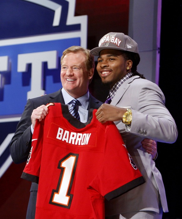 Apr 26, 2012; New York, NY, USA; NFL commissioner Roger Goodell introduces Mark Barron (Alabama) as the number seven overall pick to the Tampa Bay Buccaneers in the 2012 NFL Draft at Radio City Music Hall. Mandatory Credit: Jerry Lai-US PRESSWIRE