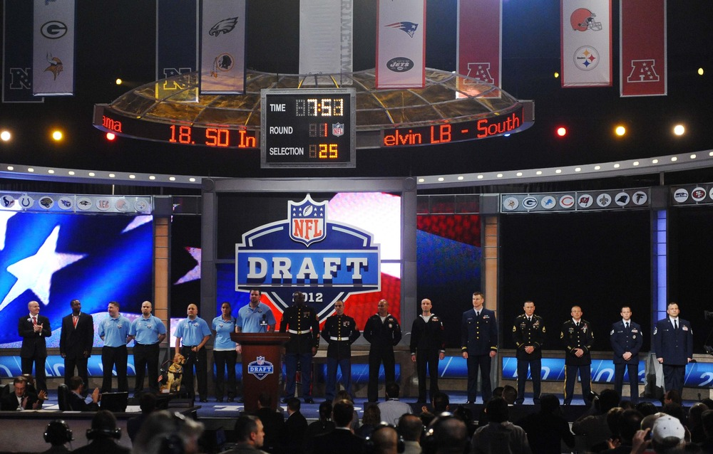 Apr 26, 2012; New York, NY, USA; Members of the United States armed forces are honored during the 2012 NFL Draft at Radio City Music Hall. Mandatory Credit: James Lang-US PRESSWIRE