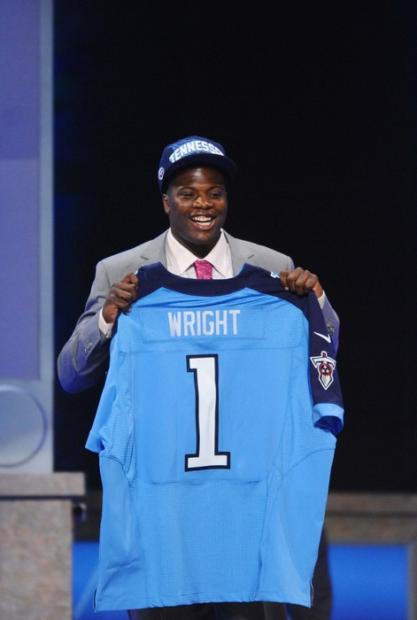 Apr 26, 2012; New York, NY, USA; Baylor wide receiver Kendall Wright is introduced as the 20th overall pick by the Tennessee Titans in the 2012 NFL Draft at Radio City Music Hall. Mandatory Credit: James Lang-US PRESSWIRE