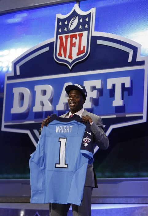 Apr 26, 2012; New York, NY, USA; Kendall Wright (Baylor) is introduced as the number twenty overall pick to the Tennessee Titans in the 2012 NFL Draft at Radio City Music Hall. Mandatory Credit: Jerry Lai-US PRESSWIRE