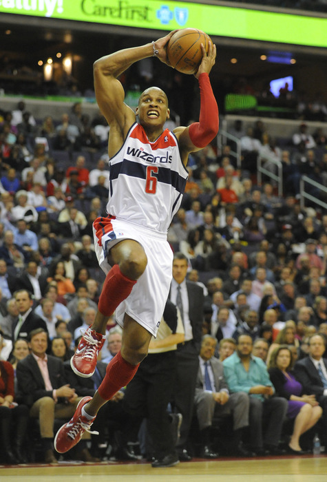 Apr 26, 2012; Washington, DC, USA; Washington Wizards small forward Maurice Evans (6) prepares to dunk the ball against the Miami Heat during the first half at the Verizon Center. Mandatory Credit: Brad Mills-US PRESSWIRE
