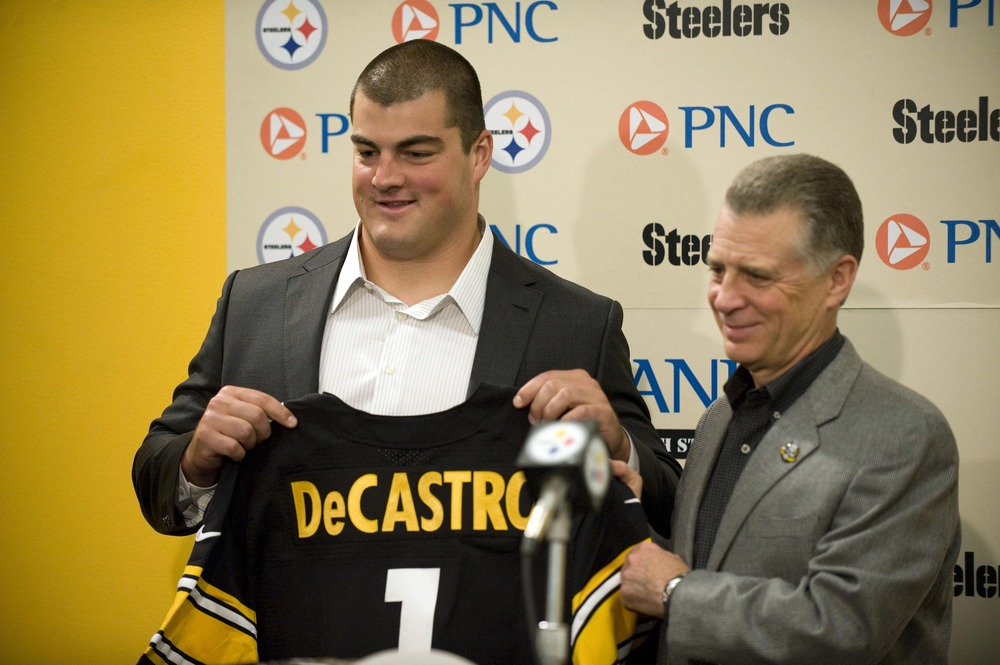 Apr 27, 2012; Pittsburgh, PA, USA; Pittsburgh Steelers first round draft pick David DeCastro is introduced by president Art Rooney II during a press conference at UPMC Sports Performance Complex.  Mandatory Credit: Vincent Pugliese-US PRESSWIRE
