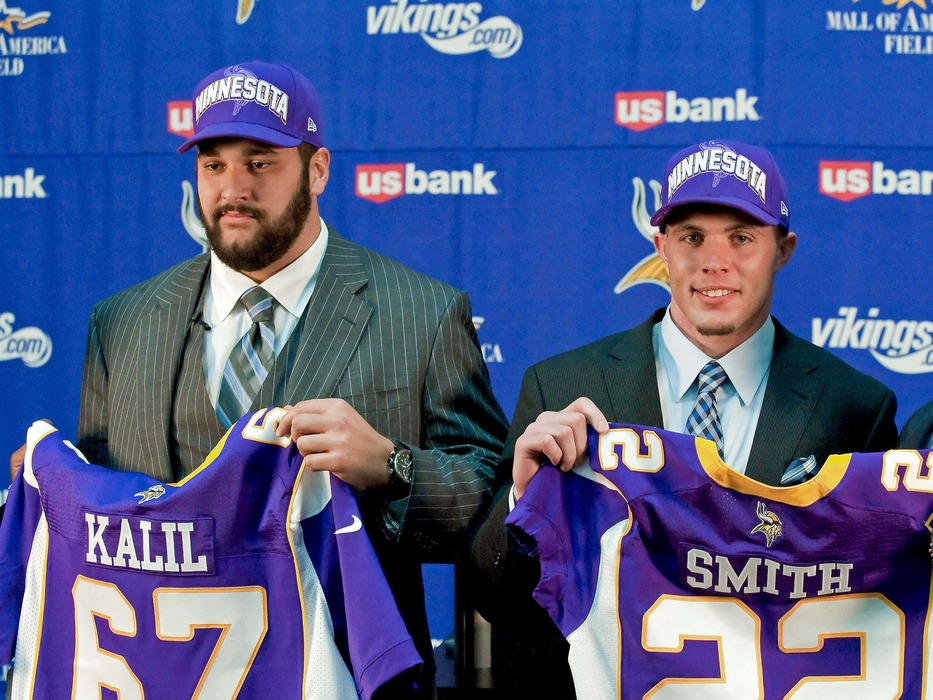 """The good news is that if you already bought a """"Smith #22"""" jersey, you're alright. The bad news is that if you already bought a """"Kalil #67"""" jersey. . .well, you'd better inquire about a refund. (Mandatory Credit:  Greg Smith-US PRESSWIRE)"""