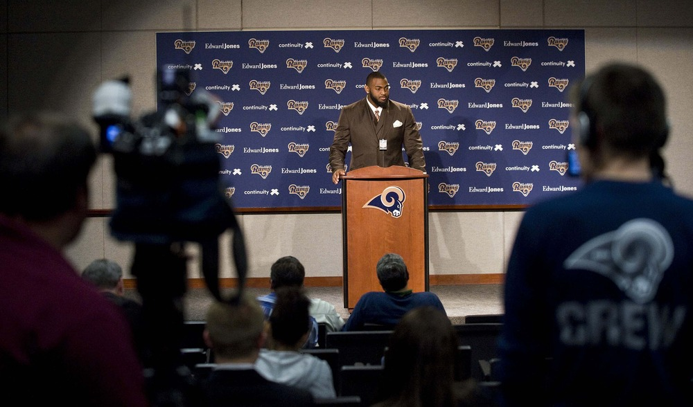 April 27, 2012; St. Louis, MO, USA; St. Louis Rams first round draft pick Michael Brockers speaks to the media at ContinuityX Training Center. Mandatory Credit: Jeff Curry-US PRESSWIRE