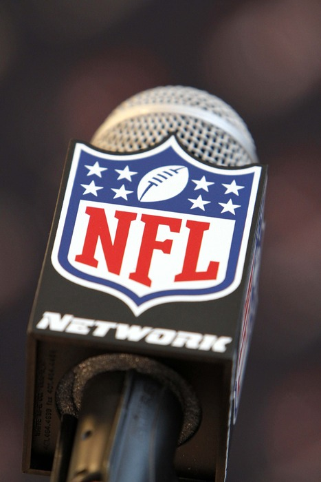 A detailed view of the microphone that the NFL Commissioner introduces new draft picks with. Mandatory Credit: Brett Davis-US PRESSWIRE