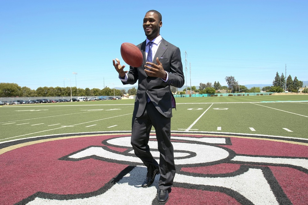 April 27, 2012; Santa Clara, CA, USA; San Francisco 49ers first round draft pick wide receiver A.J. Jenkins poses for photos on the practice field at the 49ers headquarters. Mandatory Credit: Kelley L Cox-US PRESSWIRE