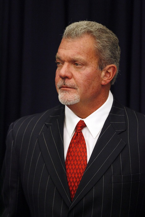 Apr 27, 2012; Indianapolis, IN, USA; Indianapolis Colts owner Jim Irsay speaks during a press conference at Lucas Oil Stadium. Mandatory Credit: Brian Spurlock-US PRESSWIRE