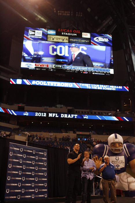 Apr 27, 2012; Indianapolis, IN, USA; Indianapolis Colts select Stanford tight end Coby Fleener as their 2nd draft pick and is shown on the video scoreboard a NFL Draft Party at Lucas Oil Stadium. Mandatory Credit: Brian Spurlock-US PRESSWIRE