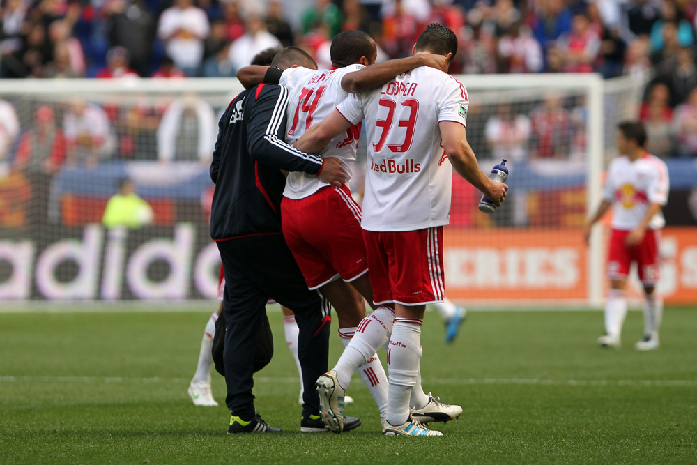 Apr 28, 2012; Harrison, NJ, USA;   New York Red Bulls forward Thierry Henry (14) leaves the field with an injury during the first half against the New England Revolution at Red Bulls Arena.  Mandatory Credit: Anthony Gruppuso-US PRESSWIRE