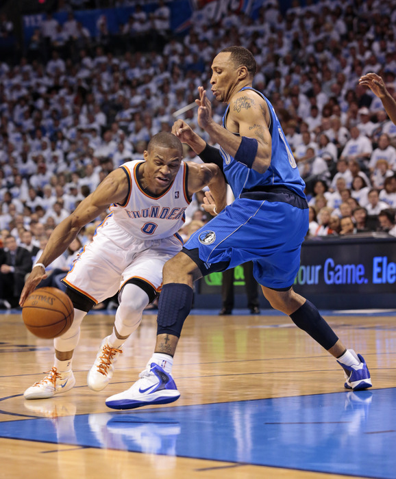 Westbrook just closes his eyes, because he knows the play will result in a foul anyway....