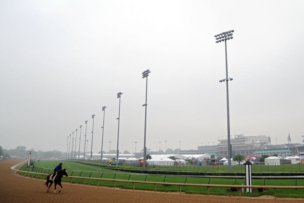 LOUISVILLE, KY - MAY 01:  Dullahan is riden on the track during the morning excercise session in preparation for the 138th Kentucky Derby at Churchill Downs on May 1, 2012 in Louisville, Kentucky.  (Photo by Michael Heiman/Getty Images)