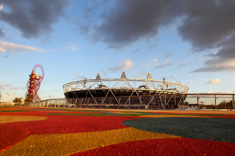 They're not that far away, folks. Olympic stadium at the Olympic Park in London, England.