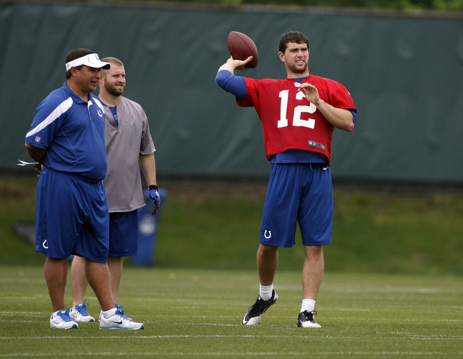 May 4, 2012; Indianapolis, IN, USA; Indianapolis Colts quarterback coach Clyde Christensen watches quarterback Andrew Luck (12) throw a pass during minicamp at the Indiana Farm Bureau Football Center. Mandatory Credit: Brian Spurlock-US PRESSWIRE