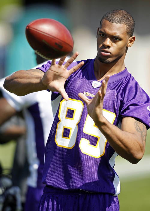 May 4, 2012; Eden Prairie, MN, USA; Minnesota Vikings wide receiver Greg Childs (85) plays catch as part of the rookie camp at Winter Park. Mandatory Credit: Bruce Kluckhohn-US PRESSWIRE