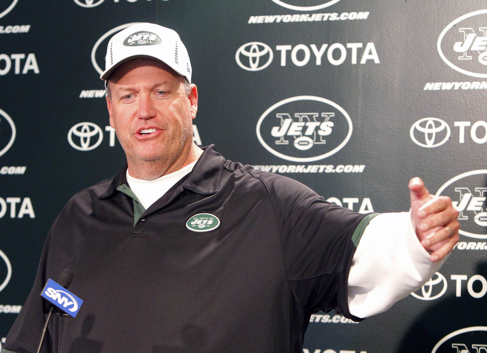 May 4, 2012; Florham Park, NJ, USA;  New York Jets head coach Rex Ryan addresses media after first day of minicamp at the Jets Training Center. Mandatory Credit: Jim O'Connor-US PRESSWIRE