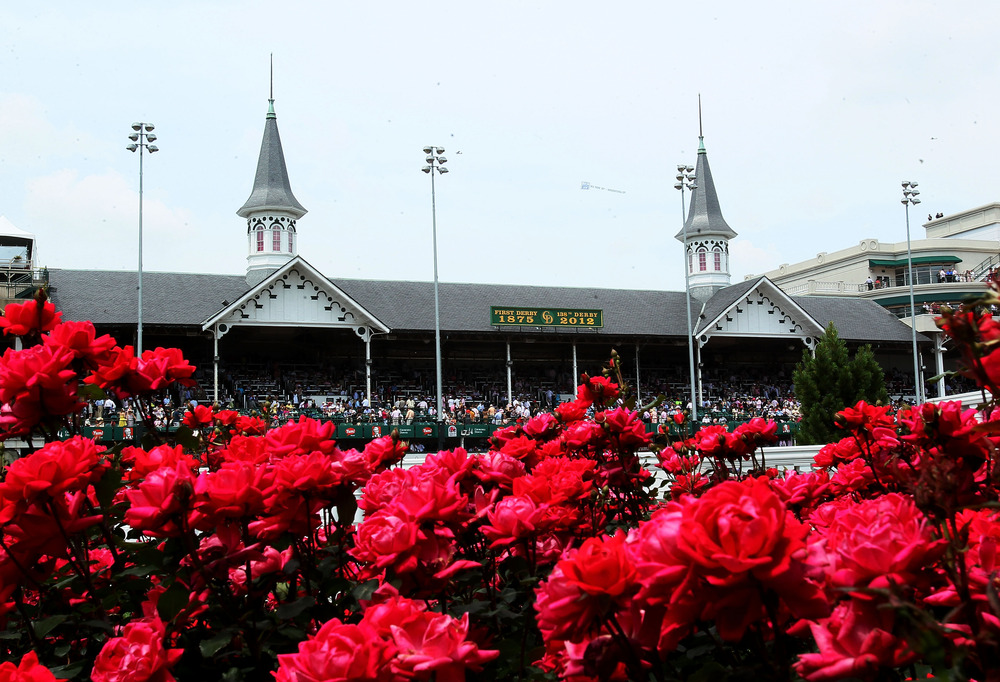 LOUISVILLE, KY - MAY 04:  The Kentucy Derby winner's circle is seen during the 138th running of the Kentucky Oaks at Churchill Downs on May 4, 2012 in Louisville, Kentucky.  (Photo by Elsa/Getty Images)